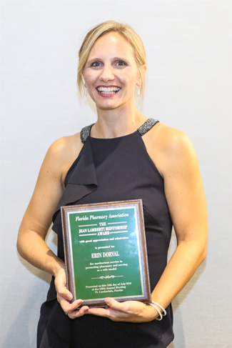 Dr. Erin Dorval, assistant professor of pharmacy practice, was honored with the Florida Pharmacy Association's Jean Lamberti Mentorship Award. She was a mentor for Dr. Sarah Haley, a Lloyd L. Gregory School of Pharmacy alumna who earned the Pharmacists Mutual Distinguished Young Pharmacist Award.