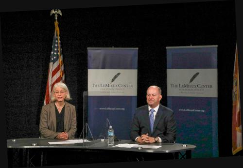 University President Dr. Debra A. Schwinn and former U.S. Sen. George S. LeMieux opened the first installment of the 2020-21 LeMieux Center for Public Policy speaker series with Dr. Deborah L. Birx.