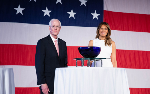 President William M. B. Fleming, Jr. presents Melania Trump with the 2020 Woman of Distinction Award at The Breakers Palm Beach on Wednesday, Feb. 19, 2020.